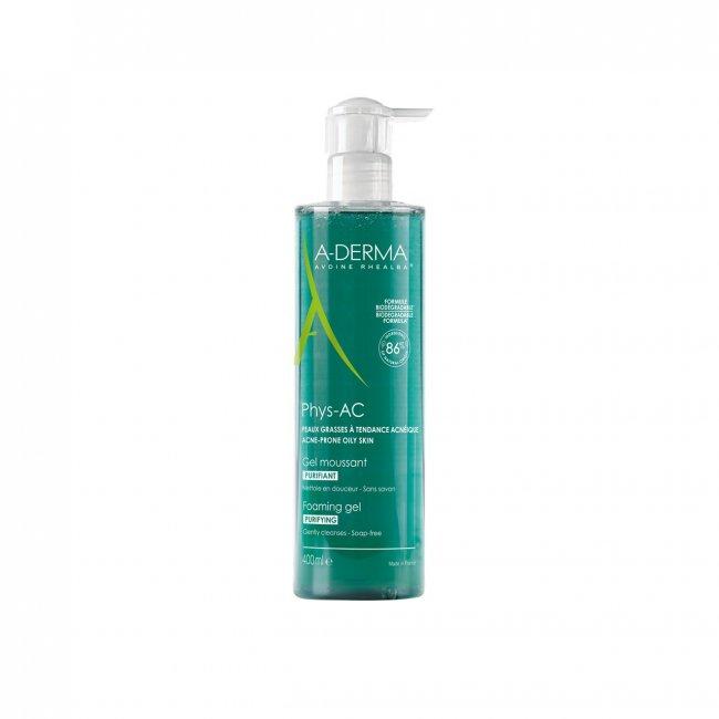 A-Derma Phys-Ac Gel Limpeza Purificante Pele Oleosa 400ml