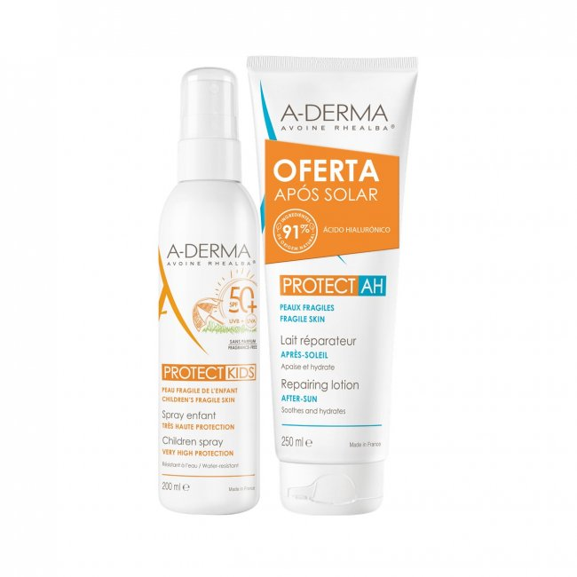 PACK PROMOCIONAL: A-Derma Protect Kids Spray Children SPF50+ 200ml + Repairing After Sun Milk 250ml