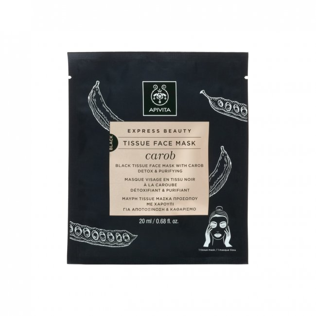 APIVITA Express Beauty Black Tissue Face Mask Carob 20ml