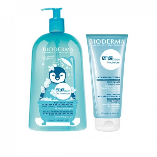 PROMOTIONAL PACK: Bioderma ABCDerm Gel Moussant 1L + Hydratant 200ml