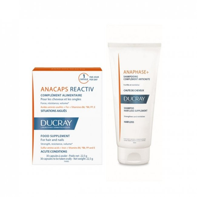 PACK PROMOCIONAL: Ducray Anacaps Reactiv Hair&Nails Acute Conditions x30 + Shampoo 200ml