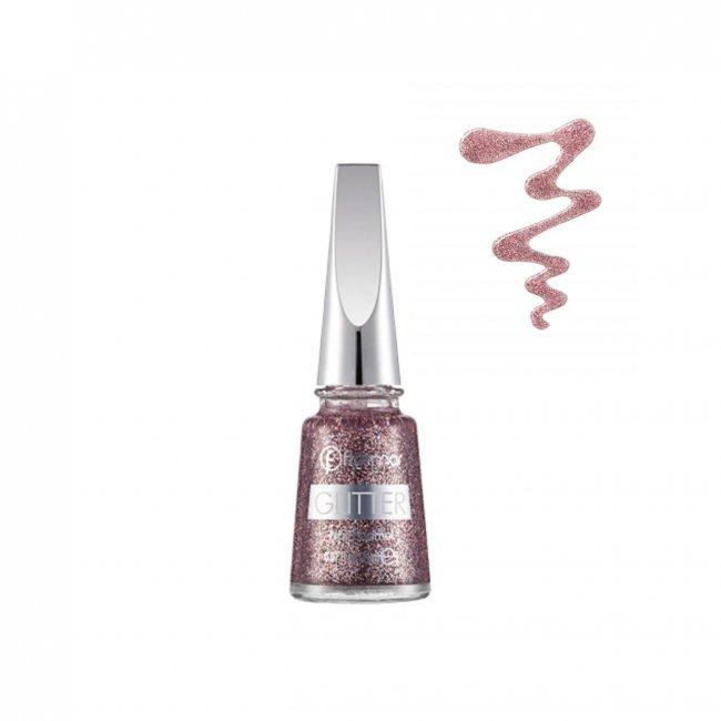 Flormar Glitter Nail Enamel 15 Red In Silver 16ml