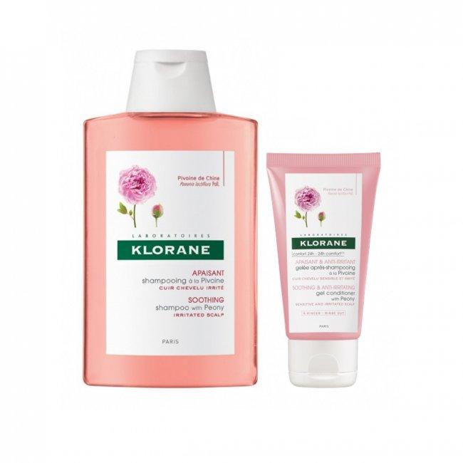 PROMOTIONAL PACK: Klorane Soothing & Anti-Irritating Shampoo Peony 400ml + Gel 50ml