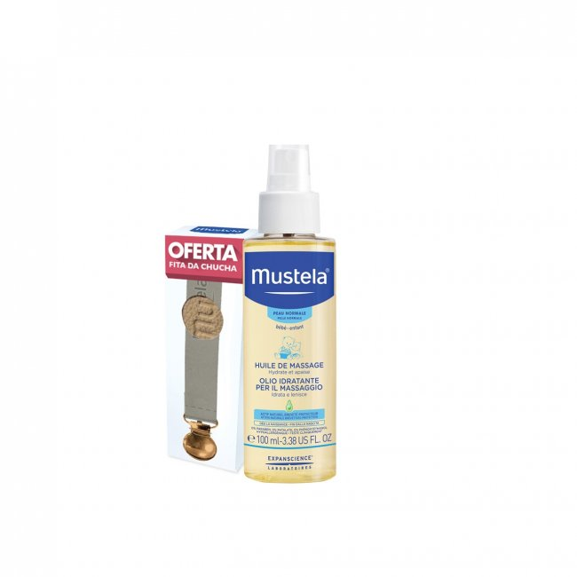 PROMOTIONAL PACK: Mustela Baby Massage Oil 100ml + Pacifier Beige Ribbon