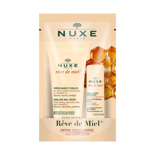 PACK PROMOCIONAL: NUXE Rêve de Miel Creme Mãos Unhas 30ml + Stick Hidratante Lábios 4g