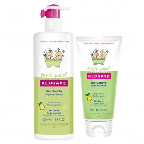 PROMOTIONAL PACK: Klorane Petit Junior Shower Gel Hair and Body Pear 500ml + 200ml