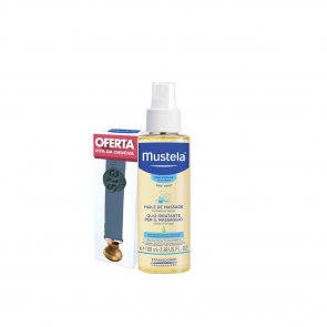 PROMOTIONAL PACK: Mustela Baby Massage Oil 100ml + Pacifier Blue Ribbon